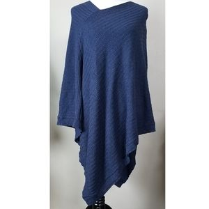 Navy Blue Long Sweater Poncho